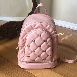 Faux Leather Pink Bow Backpack